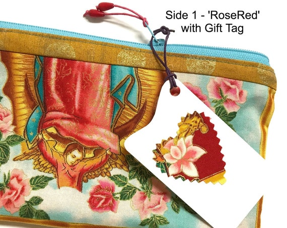 2-sided Zipper Pouch ~ 'RoseRed' Angel of Lady Guadalupe, Pink Lining ~ Ready to Ship!