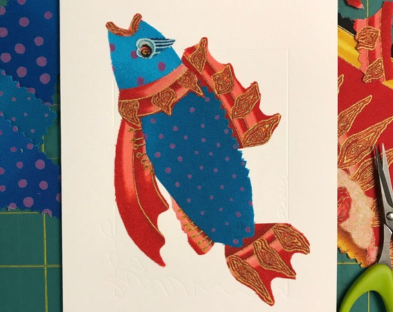 Fish FABcard #7 ~ Ready to Ship!