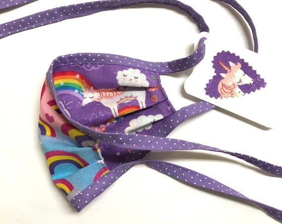 KIDS ages 4-11 ~ Reversible Face Mask ~ Unicorn / Rainbow ~ Ready to Ship!