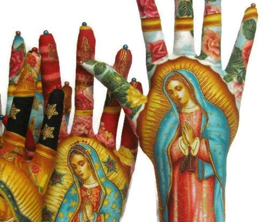 TALL Rose Our Lady of Guadalupe Fabric HAND-Stand ~ Ready to Ship