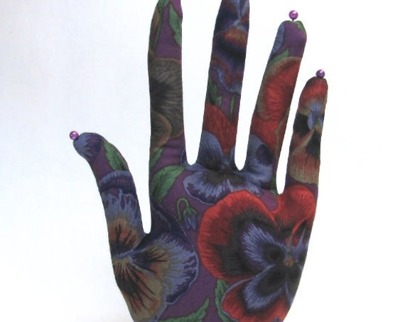 CLASSIC Kaffe Fassett Pansy HAND-Stand ~ Jewelry Display ~ Ready to Ship