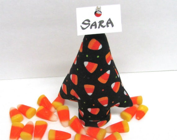 CandyCorn Fabric TREE-Stand ~ Place Card Holder ~ Ready to Ship