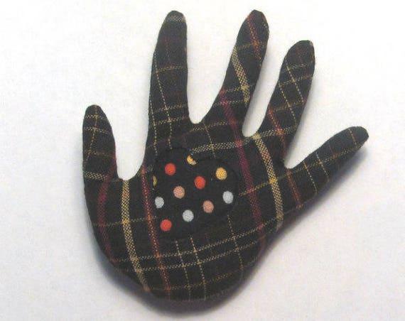 Polka Dotty Heart-in-Plaid ~ Hand Brooch ~ Ready to Ship!