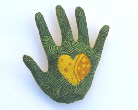 Dotted Heart-in-Green Hand Brooch ~ Ready to Ship!
