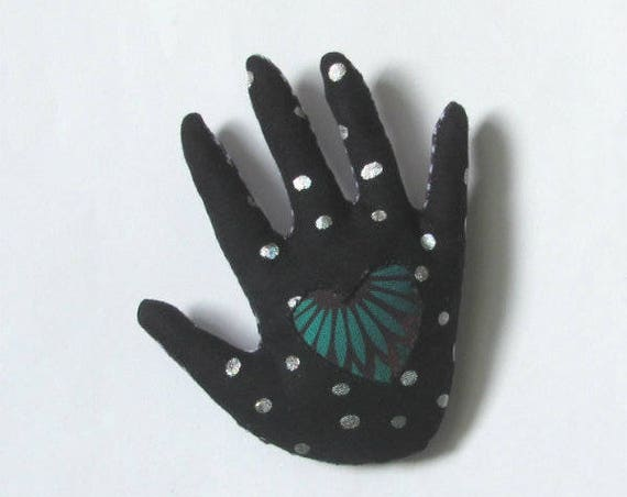 Heart-in-Spotlight Hand Brooch ~ Ready to Ship!