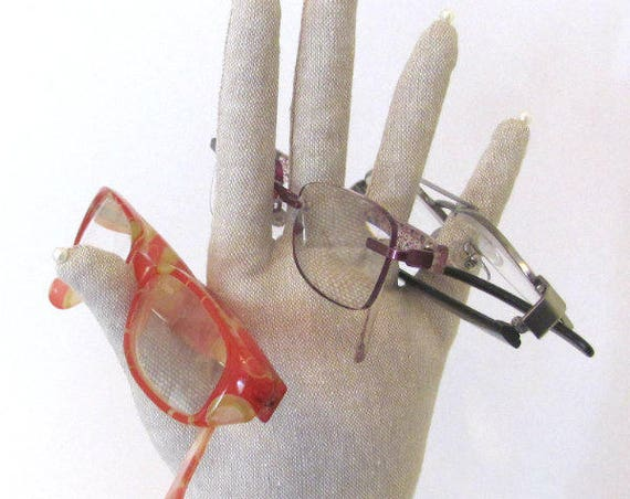 CLEARANCE: TALL Linen HAND-Stand ~ Glasses Jewelry Display ~ Ready to Ship!