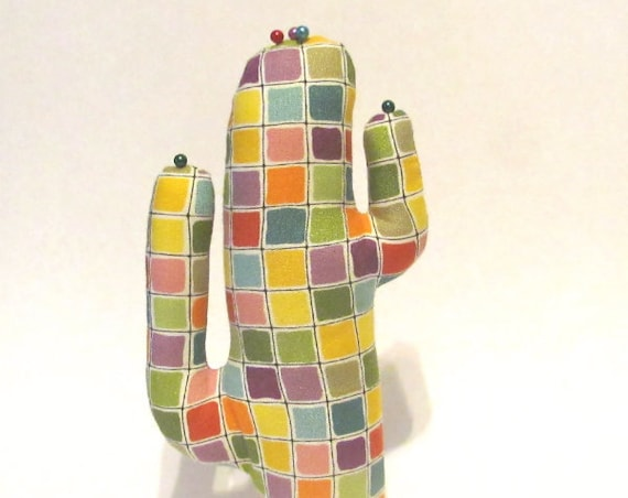 Tall Colorful Check CACTUS-Stand ~ Eyeglass Watch Holder ~ Ready to Ship