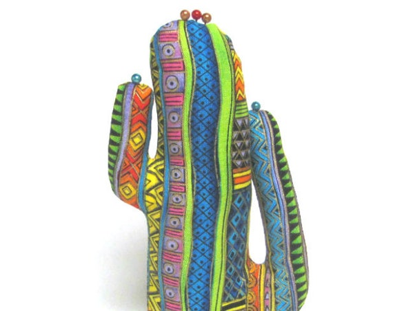 Tall Laurel Burch Wavy Stripes Fabric CACTUS-Stand ~ Eyeglass Jewelry Display ~ Ready to Ship!
