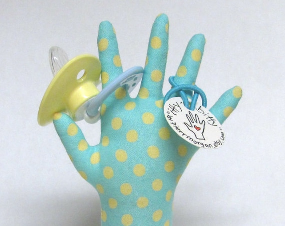 itty bitty Yellow Polka Dotty HAND-Stand ~ Pacifier Included! ~ Ready to Ship!