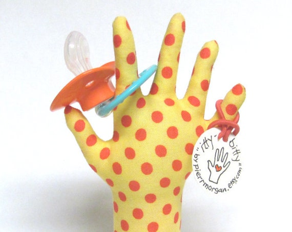 itty bitty Salmon Polka Dotty HAND-Stand ~ Pacifier Included! ~ Ready to Ship!