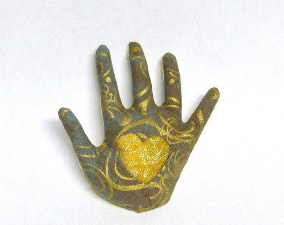 Gold Heart-In-Hand Brooch ~ Fabric Hamsa ~ Ready to Ship