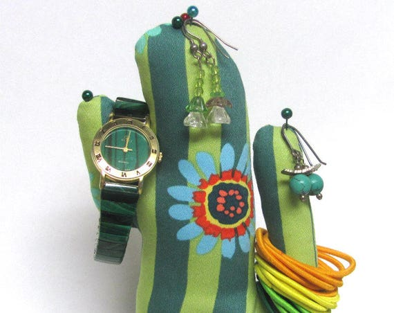 Tall Kaffe Fassett Fabric CACTUS-Stand ~ Eyeglass Jewelry Watch Holder ~ Ready to Ship