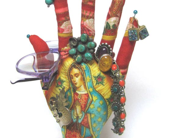 CLASSIC Red Our Lady Guadalupe HAND-Stand ~ Jewelry Display ~ Ready to Ship