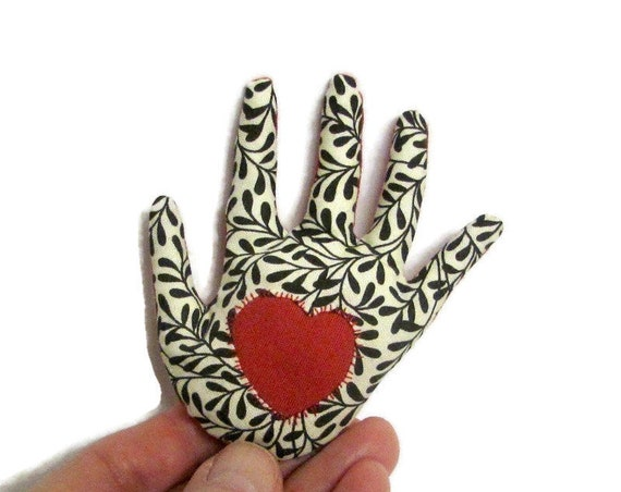 CLEARANCE: Red Heart-in-BW Leafy Hand Brooch ~ Reverse Appliqué Hamsa ~ Ready to Ship