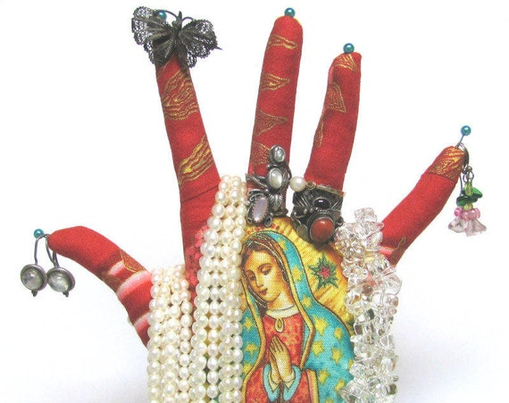 TALL Our Lady Guadalupe Red HAND-Stand ~ Jewelry Display ~ Ready to Ship!