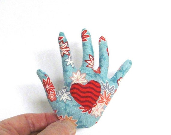 Sakura Heart-in-Hand Brooch ~ Reverse Appliqué ~ Hamsa Pin ~ Ready to Ship