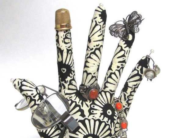 CLASSIC BW Batik HAND-Stand ~ Jewelry Display ~ Ready to Ship!