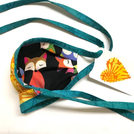 KIDS Face Mask ages 4-11 ~ Fox Sunflower Batik ~ Ready to Ship!