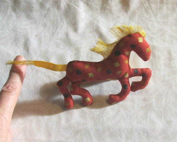 NEW! Pretty Little Horse ~ Dotty Orange Pin Ornament Mobile ~ Ready to Ship!