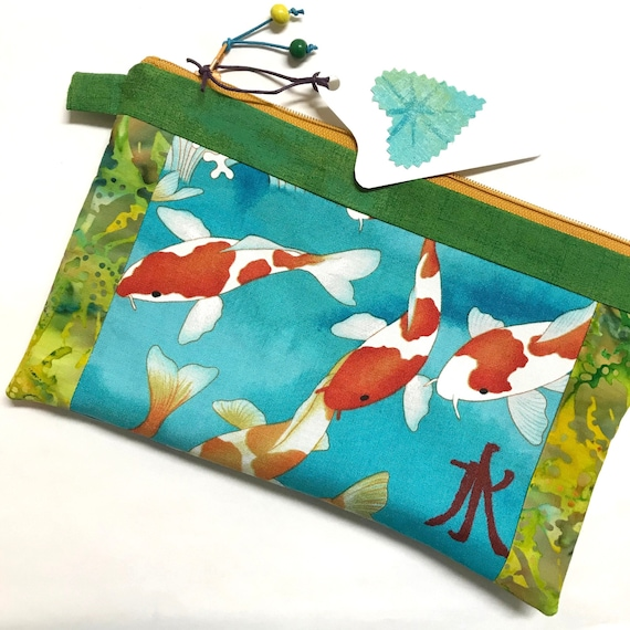 Zipper Pouch ~ Koi Fish Gold Zipper ~ Ready to Ship!