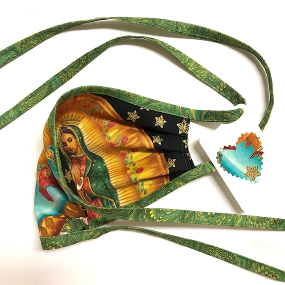 Our Lady Guadalupe StarSky Green-marbling Straps - Face Mask ~ Ready to Ship!