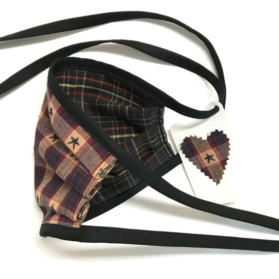 Face Mask ~ 3-Layer StarDark Plaid ~ Ready to Ship!