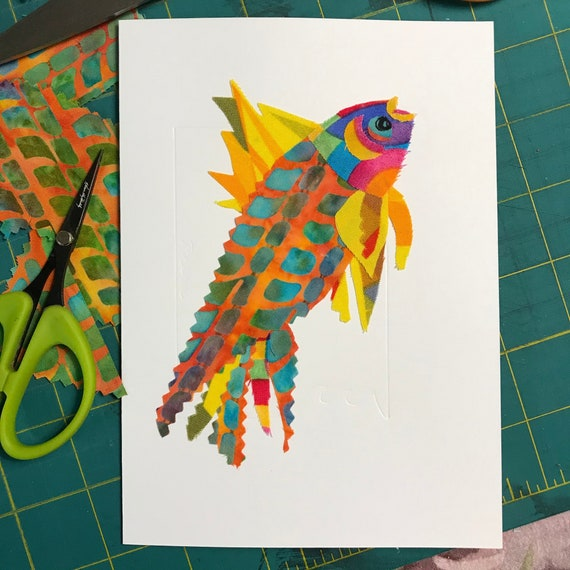 Fish FABcard #2 ~ Ready to Ship!