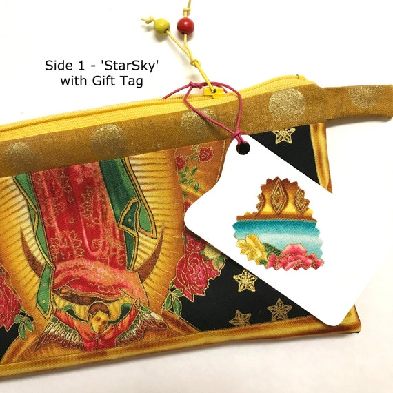 2-sided Zipper Pouch ~ 'StarSky' Angel of Lady Guadalupe, Aqua Lining ~ Ready to Ship!