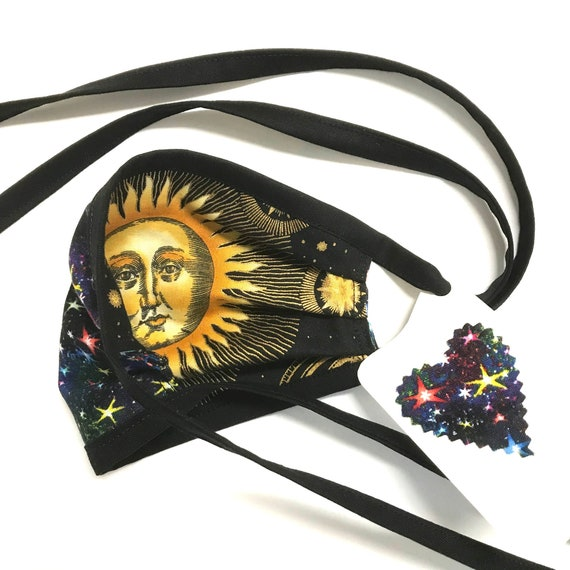 KIDS ages 4-11 ~ Reversible Face Mask ~ Sun / Stars ~ Ready to Ship!