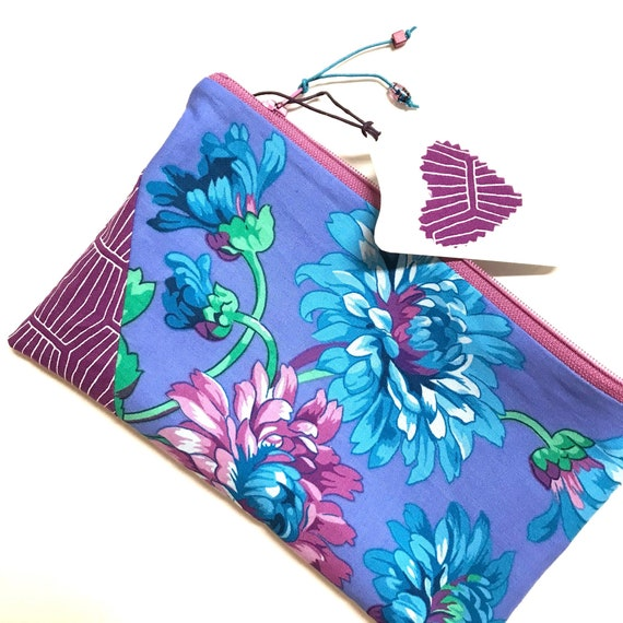 Zipper Pouch ~ Violet Floral ~ Ready to Ship!