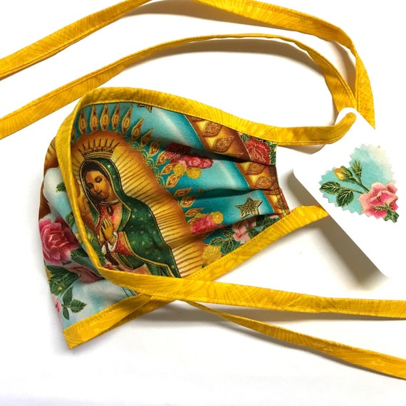 Our Lady Guadalupe SkyRose YellowStraps ~ Face Mask ~ Ready to Ship!
