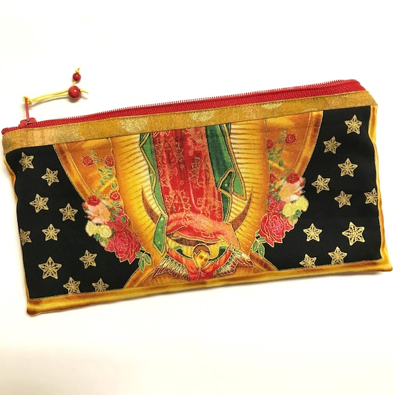 Zipper Pouch ~ Angel of Lady Guadalupe StarSky GreenMarbling Lining ~ Ready to Ship!
