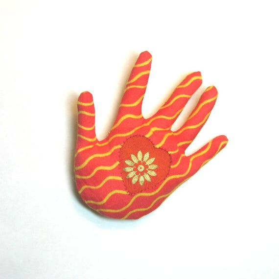 Sun Rays Hamsa Brooch ~ Heart In Hand Pin ~ Ready to Ship!