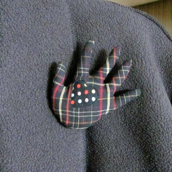 Polka Dotty Heart in Plaid Hand Brooch ~ Hamsa Pin ~ Ready to Ship!