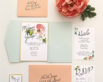 Floral Wedding Invite with pocket folds, Gold, Peach and Mint Wedding Invitation Sets, Modern Wedding Invitations, Invitations - SAMPLE