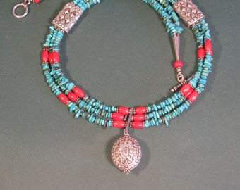 3 strand Turquoise and Bali Silver necklace