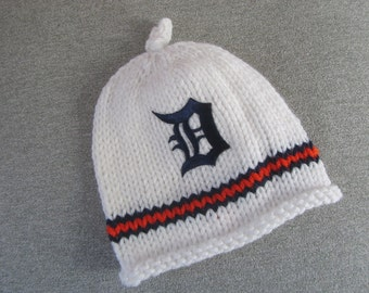 DETROIT TIGERS, Hand Knit Baby Hat, Detroit Tigers Baby Hat, Michigan Baby Hat, Michigan, Detroit Tigers Baby
