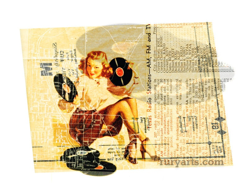 Dallas 1952: Music Gal  Giclée Print from Digital Collage image 0