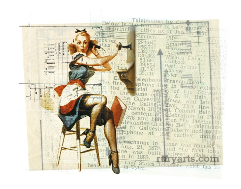 Dallas 1952: Phone Gal  Giclée Print from Digital Collage image 0