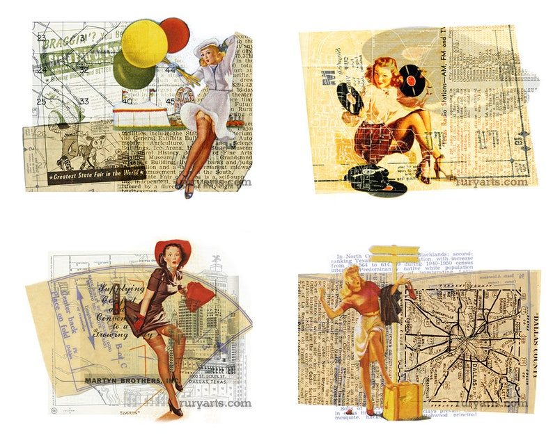 Dallas 1952 Pinup Gals  Set of 7 Note Cards image 0