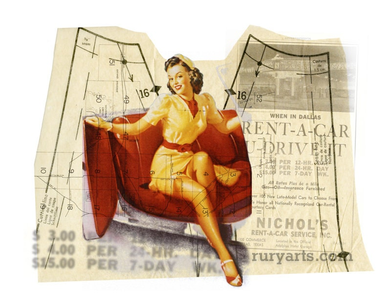 Dallas 1952: Car Gal  Giclée Print from Digital Collage image 0