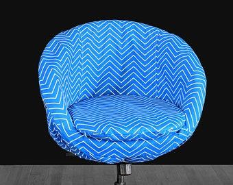 Alternative IKEA SKRUVSTA Chair Slip Cover, Chevron Cobalt Blue