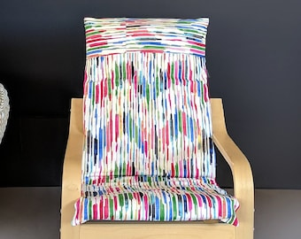 Colorful Lines, Multicolor Ikea KIDS POANG Cushion Slipcover