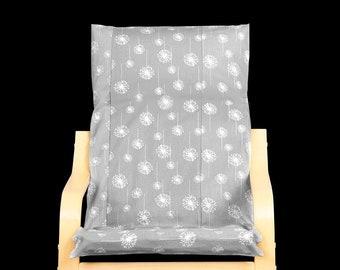 Gray Dandelion Kids Ikea Poang Seat Cover
