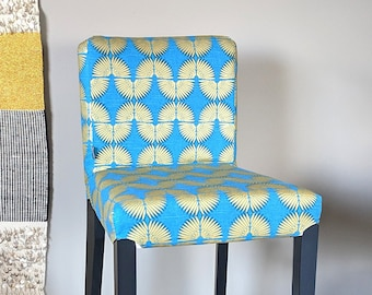 SALE Tribal Print HENRIKSDAL Bar Stool Chair Cover, Caterpillar Turquoise Peacock Blue, Metallic Gold