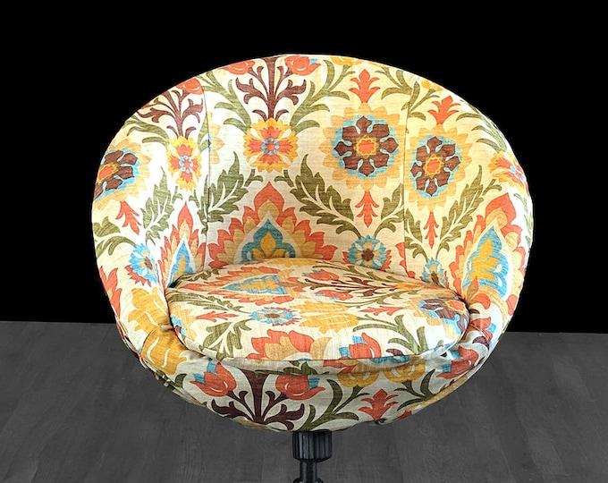 Colorful Floral Custom IKEA SKRUVSTA Chair Slip Cover - Santa Maria Adobe