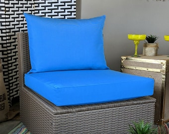 IKEA OUTDOOR Slip Cover, Plain Blue Ikea Cushion Covers, Custom Ikea Decor, Bespoke Arholma Covers, Sunbrella Capri Blue