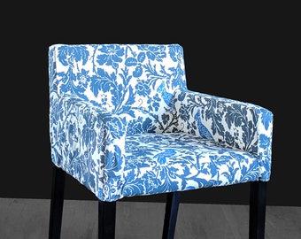 Custom Cockatoo Blue IKEA NILS Chair Slip Cover - Unique Flower Seat Print