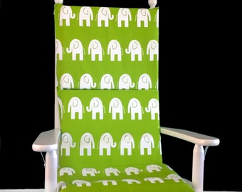 Green Elephants Nursery Rocking Chair Cushion Cover