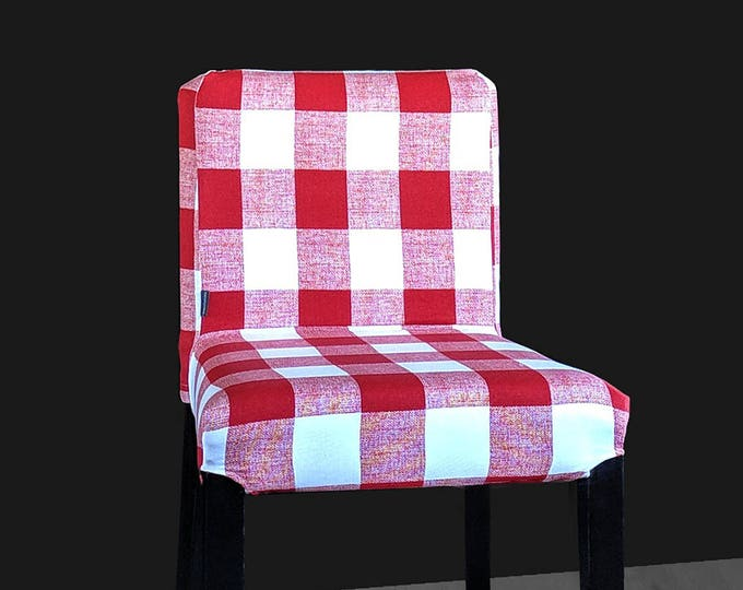 Red Plaid Buffalo Check Print HENRIKSDAL Bar Stool Chair Cover
